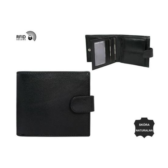 Férfi bőr pénztárca fekete nagy méret patent nélküli