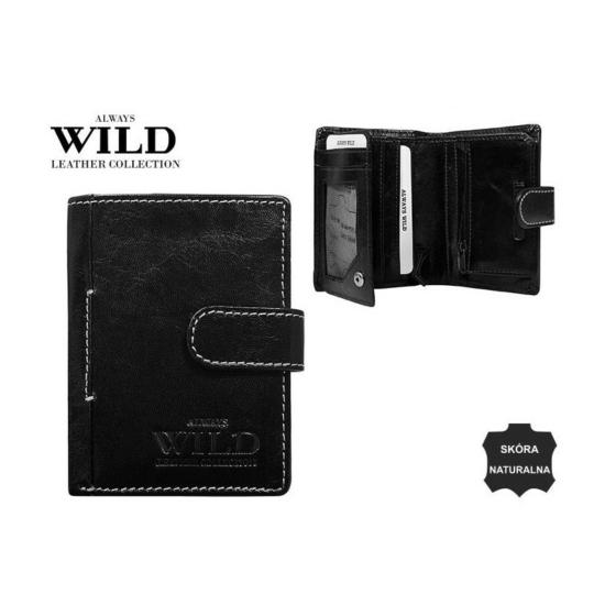 Férfi bőr pénztárca fekete kis méret patentos